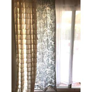FOUR Toile Curtains Blue White